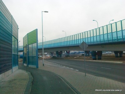 2011.12.29 - Węzeł Łopuszańska - nowe zielone ekrany akustyczne na Łopuszańskiej przy rondzie