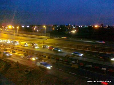 2011.12.30 - Węzeł Łopuszańska - wieczorem, kilka godzin po otwarciu korek w alejach Jerozolimskich w stronę Pruszkowa