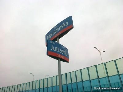 2012.01.02 - Węzeł Łopuszańska - tabliczka z nazwami ulic - Łopuszańska (Salomea) - 127-79 Jutrzenki (Salomea)