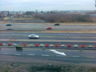 2012.01.02 - Węzeł Łopuszańska - widok z góry na aleje Jerozolimskie od ronda w stronę Pruszkowa