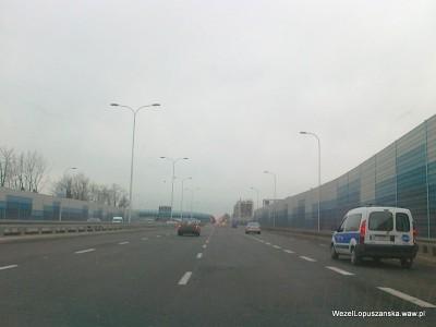 2012.01.04 - Węzeł Łopuszańska - dojazd do ronda od strony centrum
