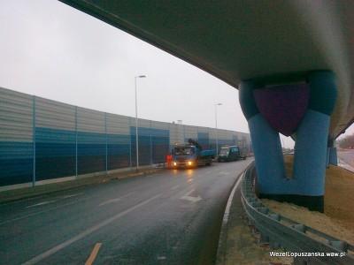 2012.01.05 - Węzeł Łopuszańska - budowa nowego oznakowania na dojeździe do ronda alejami Jerozolimskimi od strony Pruszkowa