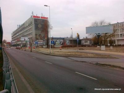 2012.01.09 - Węzeł Łopuszańska - montaż przystanku autobusowego w alejach Jerozolimskich w stronę Pruszkowa