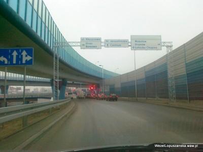 2012.01.11 - Węzeł Łopuszańska - dojazd od Pruszkowa oznakowanie przed rondem