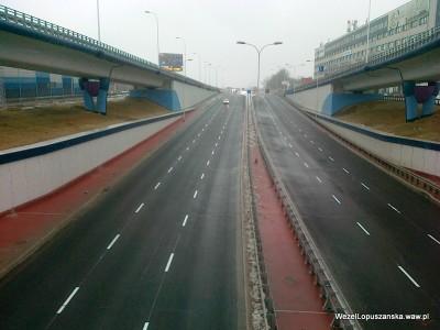 2012.01.23 - Węzeł Łopuszańska - widok z nad wanny w stronę Pruszkowa