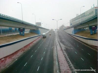 2012.01.24 - Węzeł Łopuszańska Warszawa - widok z nad wanny w stronę Pruszkowa