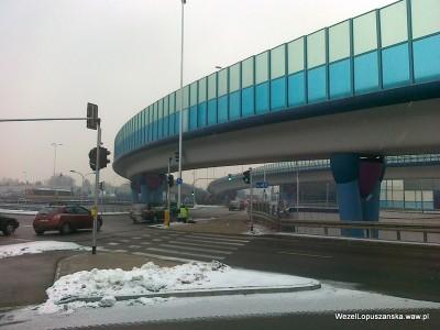 2012.01.25 - Węzeł Łopuszańska Warszawa - prace przy sygnalizacji świetlnej