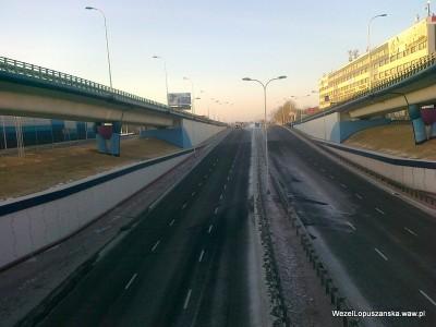 2012.01.31 - Węzeł Łopuszańska Warszawa - widok z nad wanny w stronę Pruszkowa