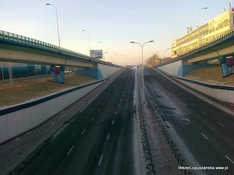 2012.01.31 - Węzeł Łopuszańska Warszawa - widok znad wanny w stronę Pruszkowa