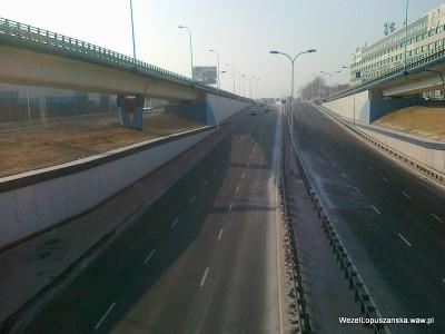2012.02.06 - Węzeł Łopuszańska Warszawa - widok z nad wanny w stronę Pruszkowa