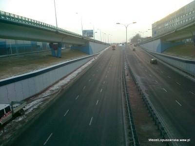 2012.02.07 - Węzeł Łopuszańska Warszawa - widok z nad wanny w stronę Pruszkowa