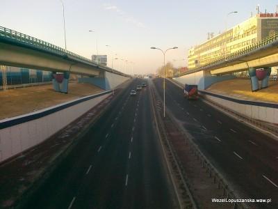 2012.02.08 - Węzeł Łopuszańska Warszawa - widok z nad wanny w stronę Pruszkowa