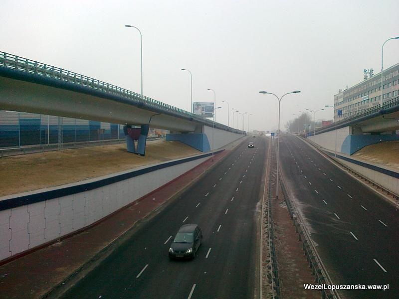 2012.02.13 - Węzeł Łopuszańska Warszawa - widok znad wanny w stronę Pruszkowa