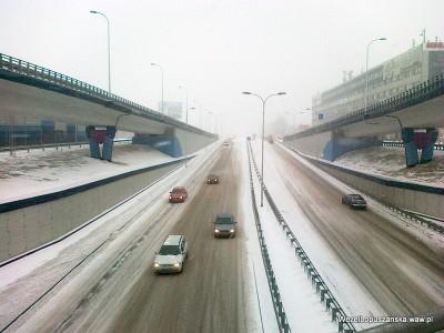 2012.02.15 - Węzeł Łopuszańska Warszawa - widok z nad wanny w stronę Pruszkowa