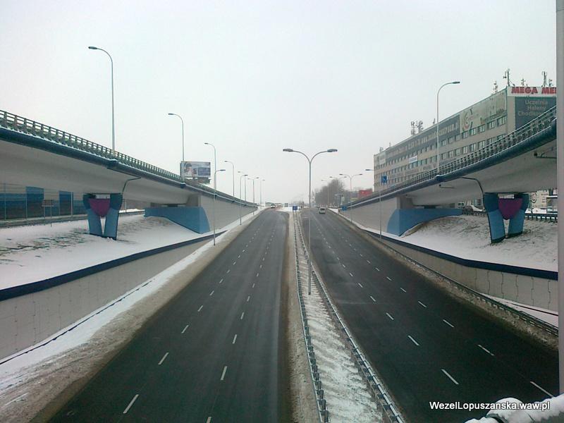 2012.02.16 - Węzeł Łopuszańska Warszawa - widok znad wanny w stronę Pruszkowa