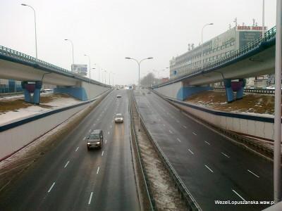 2012.02.22 - Węzeł Łopuszańska Warszawa - widok z nad wanny w stronę Pruszkowa