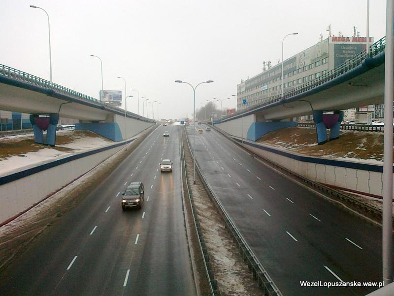 2012.02.22 - Węzeł Łopuszańska Warszawa - widok znad wanny w stronę Pruszkowa