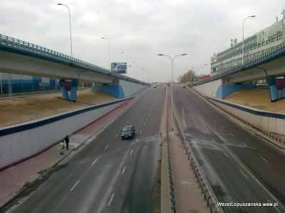 2012.03.07 - Węzeł Łopuszańska Warszawa - widok z nad wanny w stronę Pruszkowa