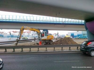 2012.03.14 - Węzeł Łopuszańska Warszawa - układanie kostki brukowej pod wiaduktami na Łopuszańskiej