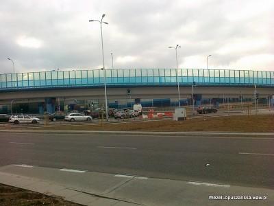 2012.03.19 - Węzeł Łopuszańska Warszawa - widok na rondo z tymczasową zmianą organizacji ruchu