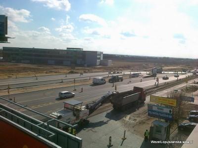 2012.03.19 - Węzeł Łopuszańska Warszawa - zrywanie asfaltu - widok z góry