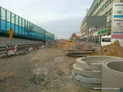 2012.04.11 - Węzeł Łopuszańska Warszawa - prace drogowe w alejach Jerozolimskich w stronę Pruszkowa