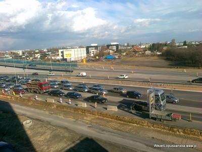 2012.03.30 - Węzeł Łopuszańska Warszawa - widok z góry na aleje Jerozolimskie