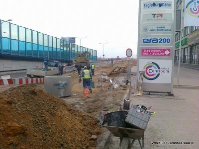 2012.04.05 - Węzeł Łopuszańska Warszawa - prace drogowe w alejach Jerozolimskich w stronę Pruszkowa