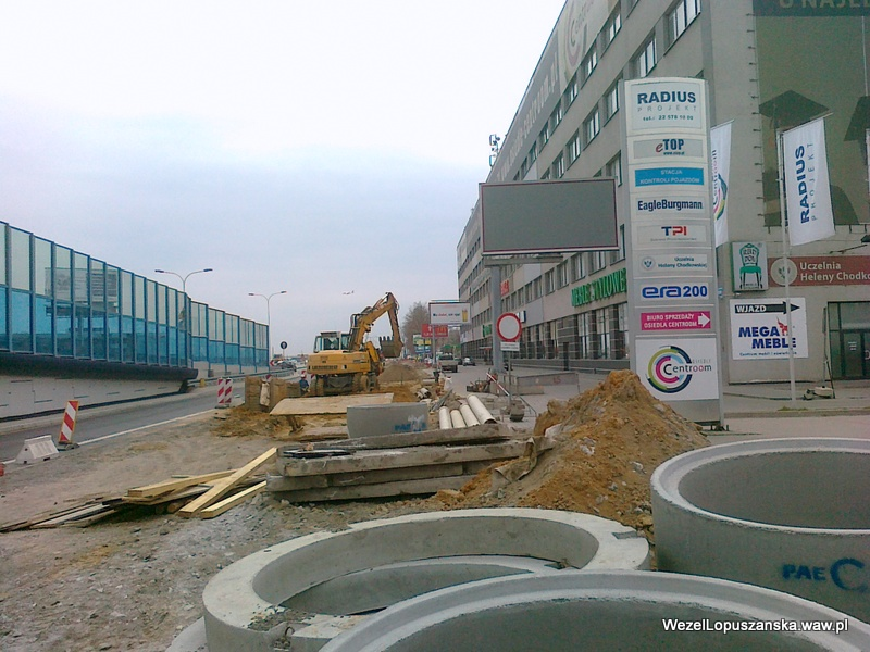 2012.04.12 - Węzeł Łopuszańska Warszawa - prace w alejach Jerozolimskich w stronę Pruszkowa