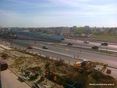 2012.04.27 - Węzeł Łopuszańska Warszawa - widok z góry na aleje Jerozolimskie