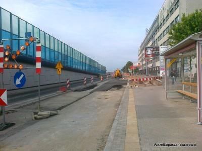 2012.05.15 - Węzeł Łopuszańska Warszawa - prace w alejach Jerozolimskich w stronę Pruszkowa