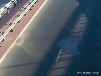 2012.06.29 - Węzeł Łopuszańska Warszawa - widok znad wanny w stronę Pruszkowa - następne miejsce wycieku