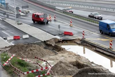 2012.07.02 - Węzeł Łopuszańska Warszawa - rozkopane aleje Jerozolimskie przy zjeździe z wiaduktu