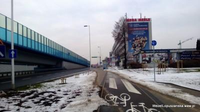 2013.02.27 - Węzeł Łopuszańska Warszawa - ścieżka rowerowa wzdłuż alej jerozolimskich w stronę Pruszkowa